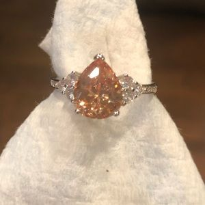 Champagne/white CZ 5ctw pear shape ring. Size 10.